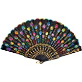 Colored Embroidered Flower Pattern Black Cloth Folding Hand Fan for Woman