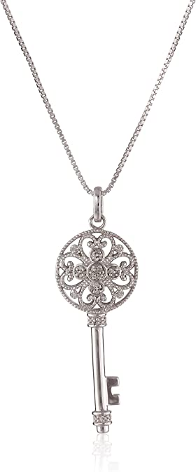 Jewelili Sterling Silver 1//6 CTTW Black and White Diamond Dog Pendant Necklace 18 Rolo Chain