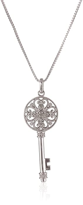 Amazon sterling silver diamond key pendant necklace 110 cttw sterling silver diamond key pendant necklace 110 cttw 18quot mozeypictures Image collections