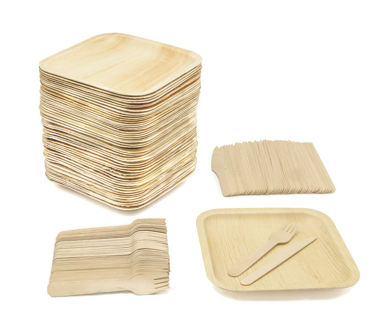 Party Pack of 150 Eco-Friendly Dinnerware - 50 Disposable 8'' Square Palm Leaf Plates, 50 Wood Forks, 50 Wood Knives