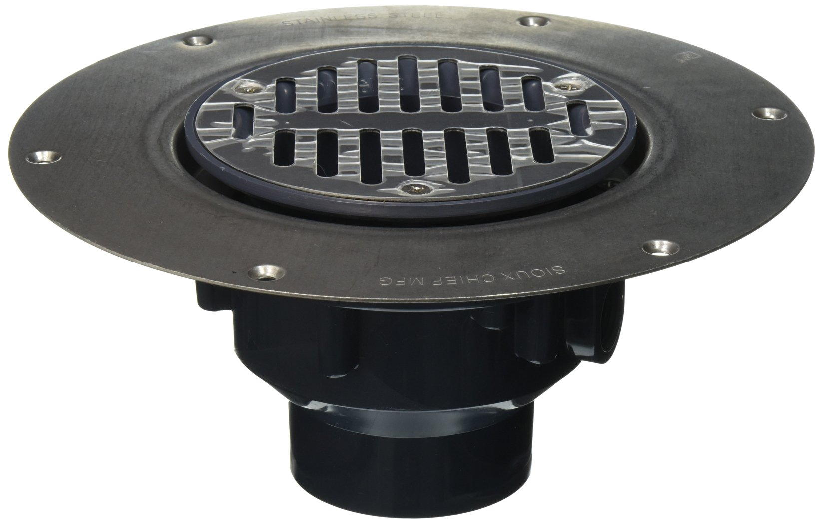Soux Chief 822-2PS Halo Drain Adjustable Floor Drain Schlage 40 Hub Connection with Deck Flange