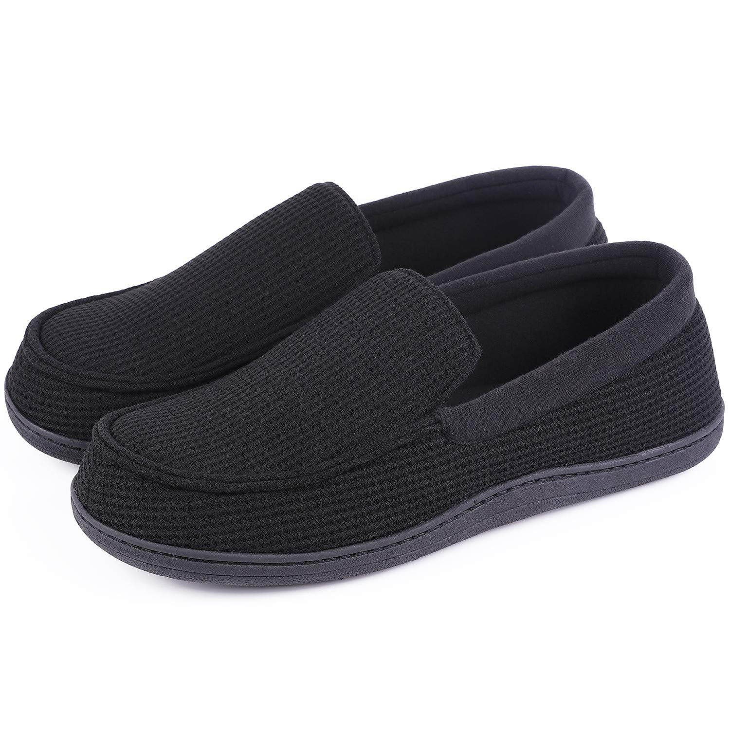 HomeTop Men's Comfort Memory Foam Moccasin Slippers Breathable Cotton Knit House Shoes w/Anti-Skid Rubber Sole (10 D(M) US, Black)