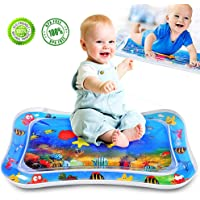"ALLYAOFA Inflatable Tummy Time Water Play Mat, Sensory Toy for Babies Infants Toddlers Perfect Baby Toy for 3 to 12 Months Old Boy or Girl Gift, 26"" x 20"", 6 Floating Toys"