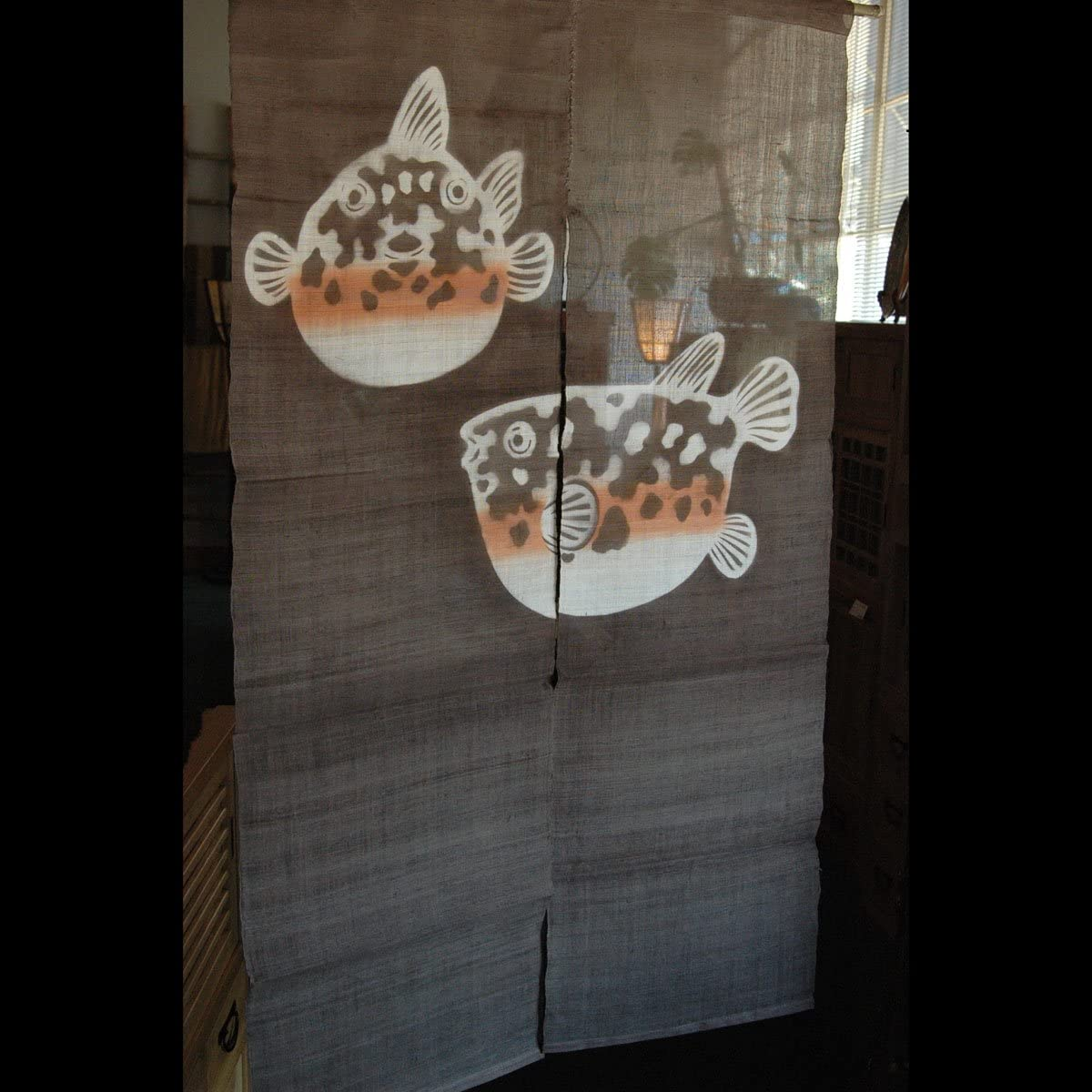 EASTERN CLASSICS Japanese Noren, 07DA02B Linen Door Way Curtain, Blowfish on Brown