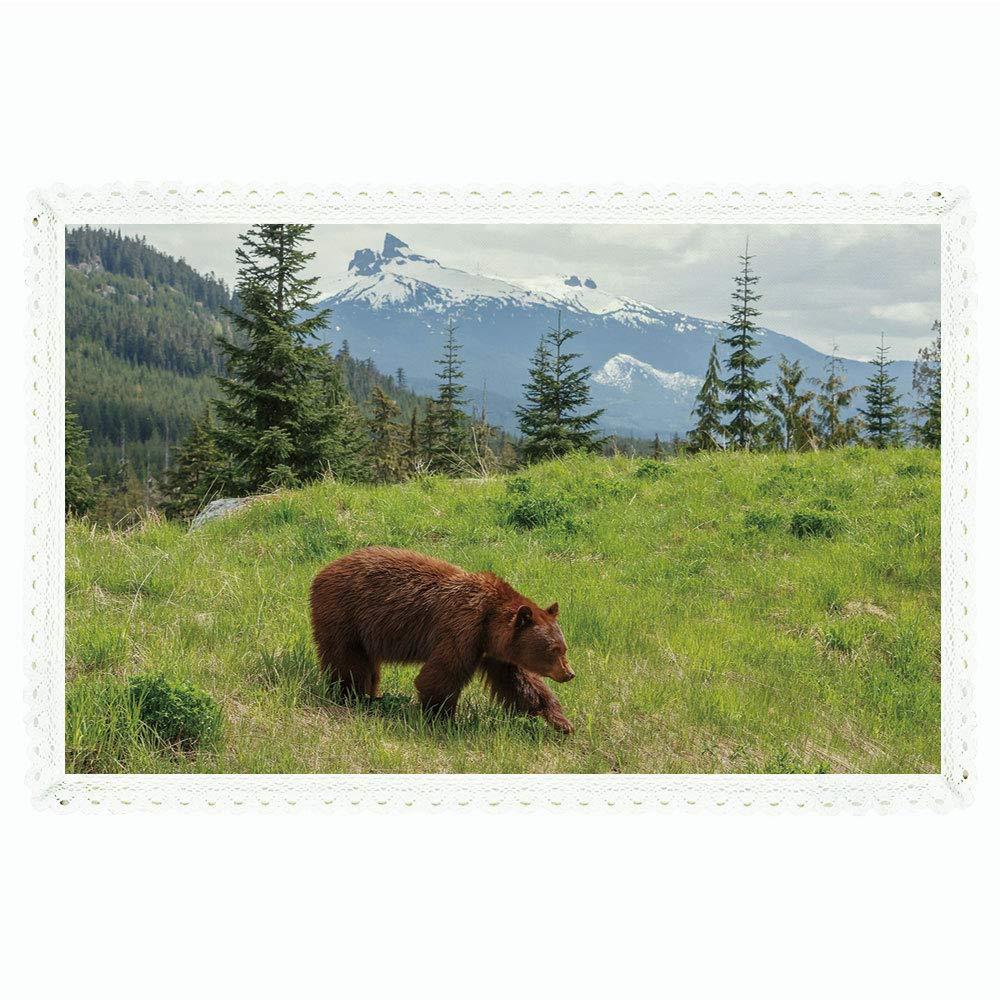 iPrint Bear 長方形ポリエステルリネンテーブルクロス/山の中の野生動物テーマ ふわふわアニマルカーニボア イエローストーン 自然の生き物 ディナーキッチンホームデコレーション用 55インチx72インチ グリーンブラウン 60