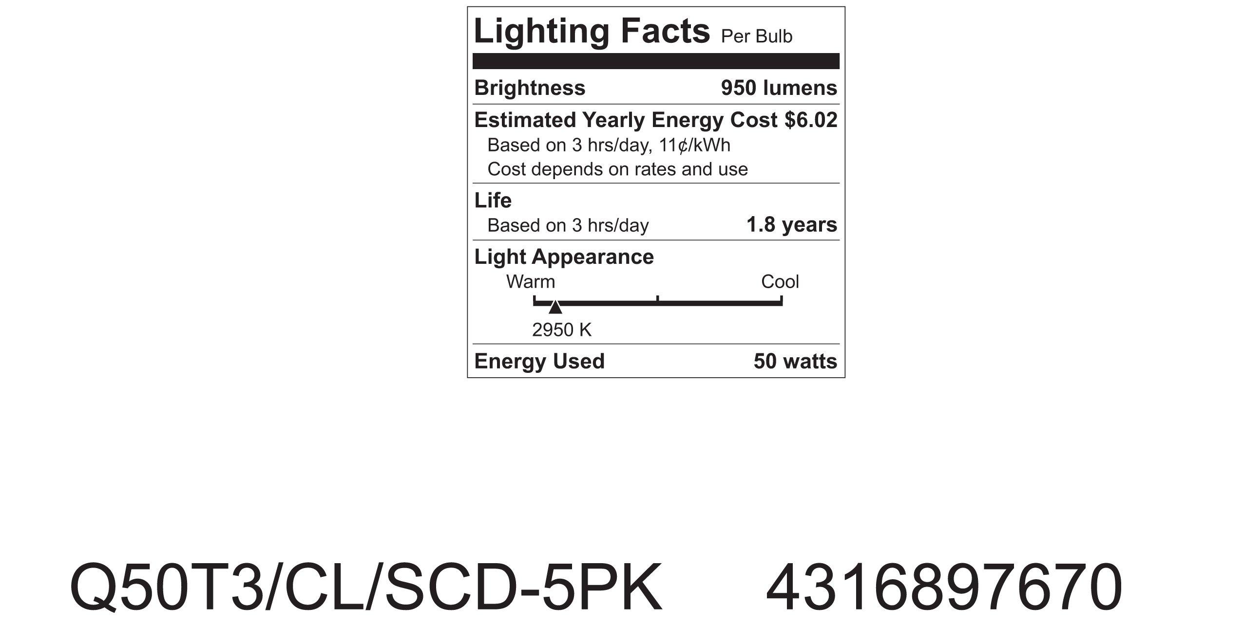 GE Lighting Halogen 97670 50-Watt, 950-Lumen T3 Light Bulb with 2-Pin (GY6.35) Base, 1-Pack