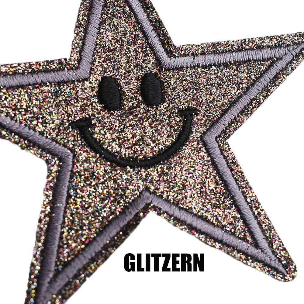 Escudos Redondos. Estrellas De Cinco Puntas Smileys Mariposas Rosas 55 pcs Flores Parches Ropa Termoadhesivos Ni/ños-Crafts Diy Conjunto De Parche Termoadhesivo Decorativos