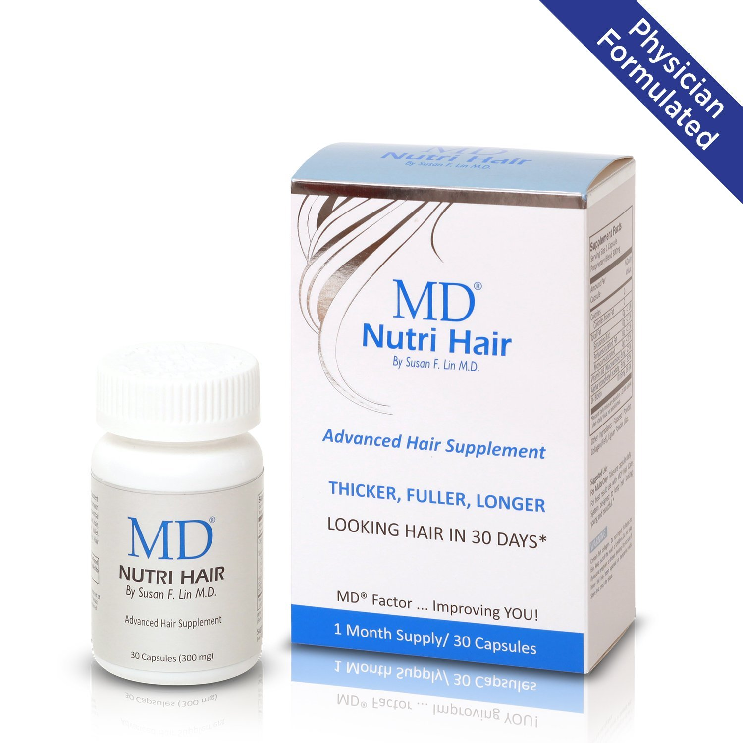 MD Nutri Hair Growth Supplement with Biotin (30 Capsules) | Prevents Hair Loss, Minimizes Hair Shedding, Thinning, Breakage & Promotes Longer, Thicker Hair|Skin-Safe & Natural Formulation by MD