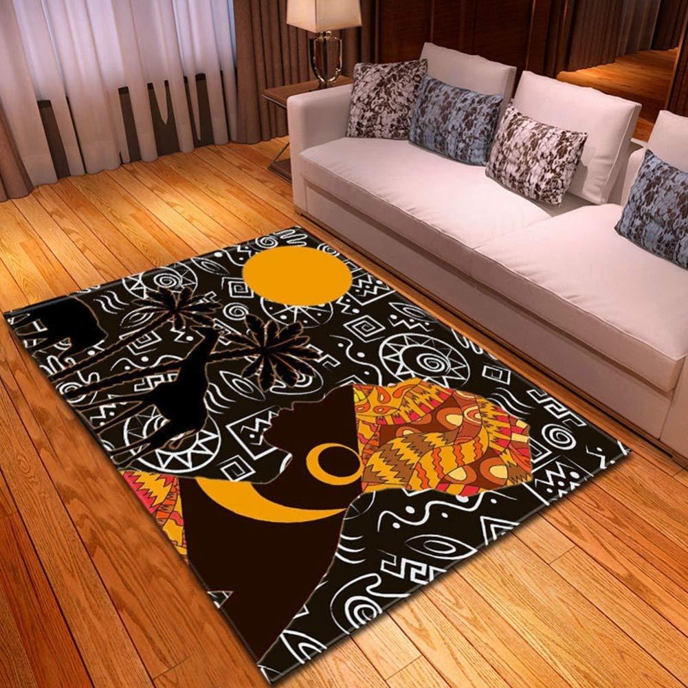 Sconosciuto Tappeti Soggiorno Grigio 100x150 Rettangolare in Stile Africano Tappeti per Camera da Letto Moderno Tappeti Soffici Non stuoia Pavimento Scivolo