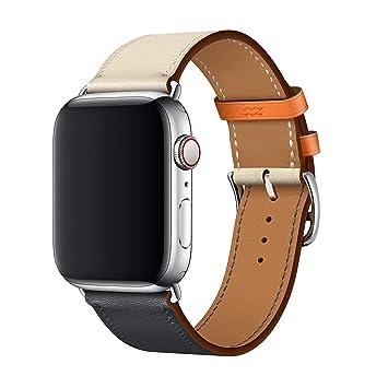 ac605f54f49 XCool Compatible Bracelet Watch 42mm 44mm Cuir Orange Bleu Bande de  Remplacement pour iwatch Series 4
