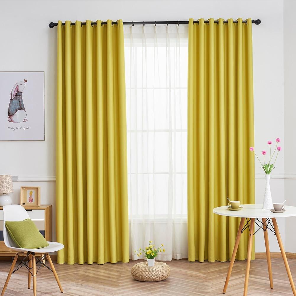 HighPlus Simple Pure Blackout Curtains Study Bedroom Windows Drapes Curtain (Coffee)