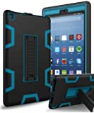 All-New Amazon Kindle Fire HD 8 (2017 7th Generation) Case,XIQI Three Layer Hybrid Rugged Heavy duty Shockproof Anti-Slip Case Cover for Fire HD 8 Tablet(2017),Black/Blue