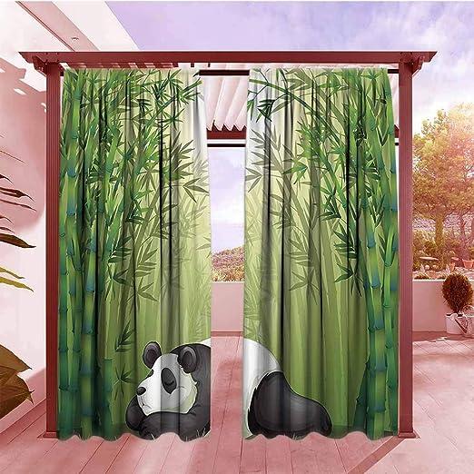 AndyTours - Cortina para puerta corredera con diseño de animales, colección Happy Playful Pandas, escalada en árboles de bambú en bosque, dibujos animados para niños, uso eficiente energético, oscurecimiento verde, negro, blanco: