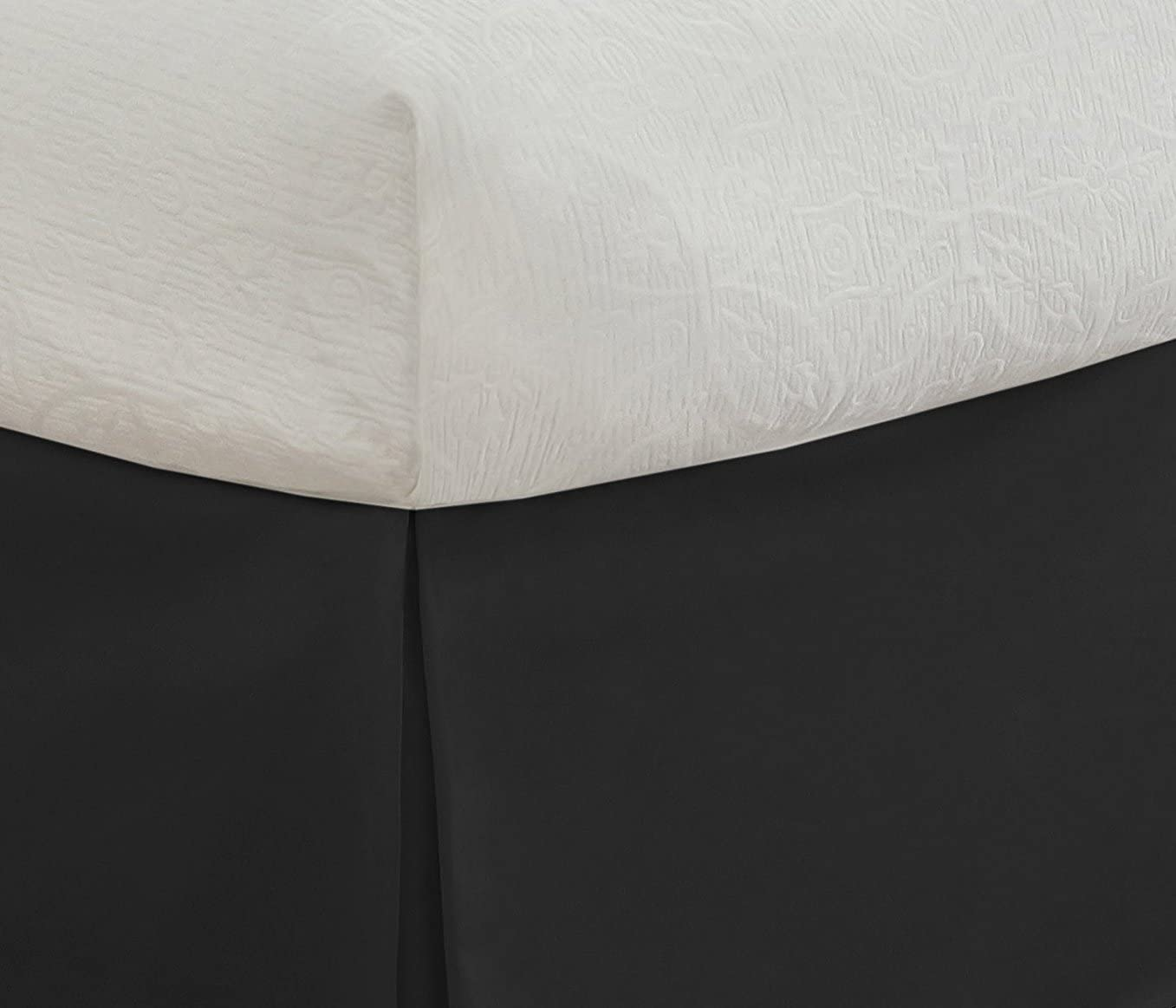 Lux Hotel Tailored Bed Skirt Classic 14 Drop Length Pleated Styling Black Twin XL