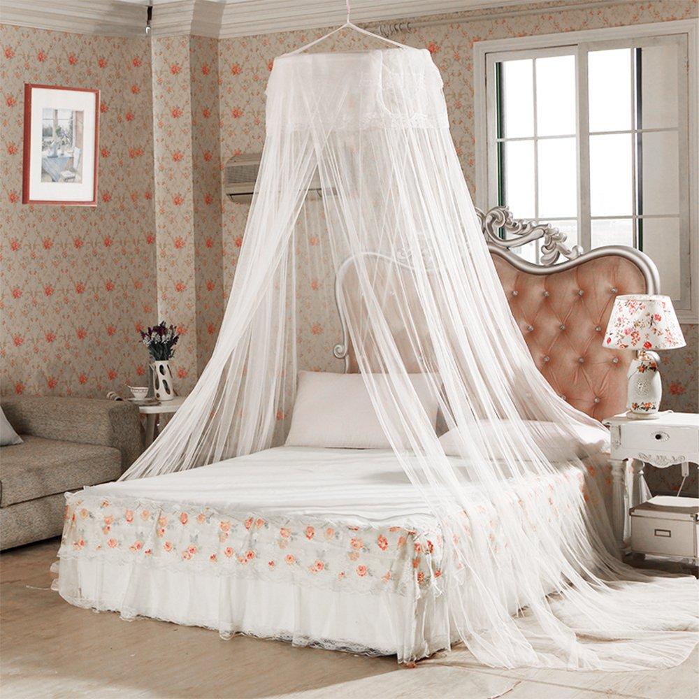 Vitutech Moustiquaire ciel de lit, Grande moustiquaire insectes Protection Lit La Meilleure Moustiquaire Moustiquaire Protection anti-insectes (Blanc)