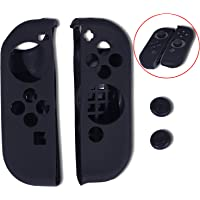 OYESS Funda de Silicona para Joycon Agarre Antideslizante Piel Cobertora Negra con Tapones para Joysticks de Pulgar para Mandos Joy con de Nintendo Switch de