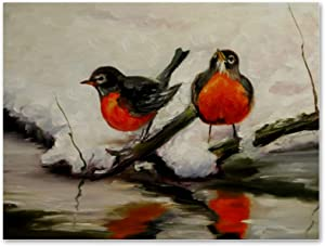 imobaby Oil Painting on Canvas Winter Ice Stream Bullfinch Birds Prints with Wooden Frame for Bedroom Home Living Room Office Modern Wall Art Decor, 11.8x15.7 in