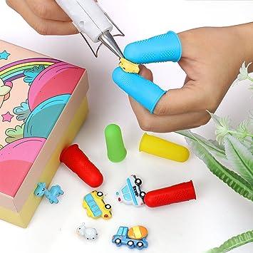 Vamei 12pcs Protectores de dedos de silicona 4 colores FDA Pistola de pegamento caliente Dedo Caps