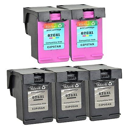 Nineleaf - 5 cartuchos de tinta remanufacturados 62XL 62 XL ...