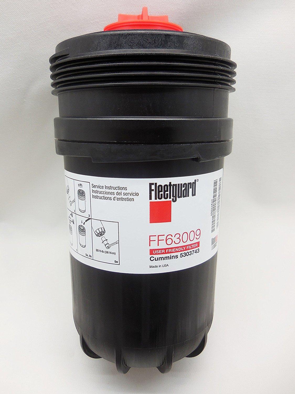 Fleetguard FF63009 (Cummins 5303743) Fuel Filter w/ NanoNet Hi Performance Cummins B/L Series Engine Filtration, 2x Contaminant Holding Cap, Best in Class Protection&Longer Fuel System Life (2-Pack)
