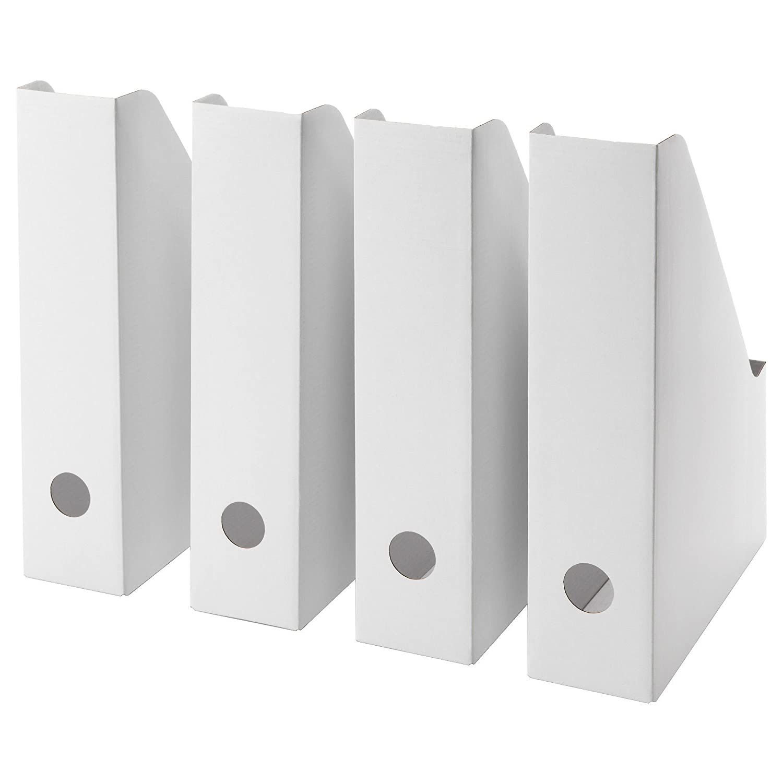 fluns Juego de cuatro revista archivos Fold Out cartón Cajas de almacenaje Ikea: Amazon.es: Hogar