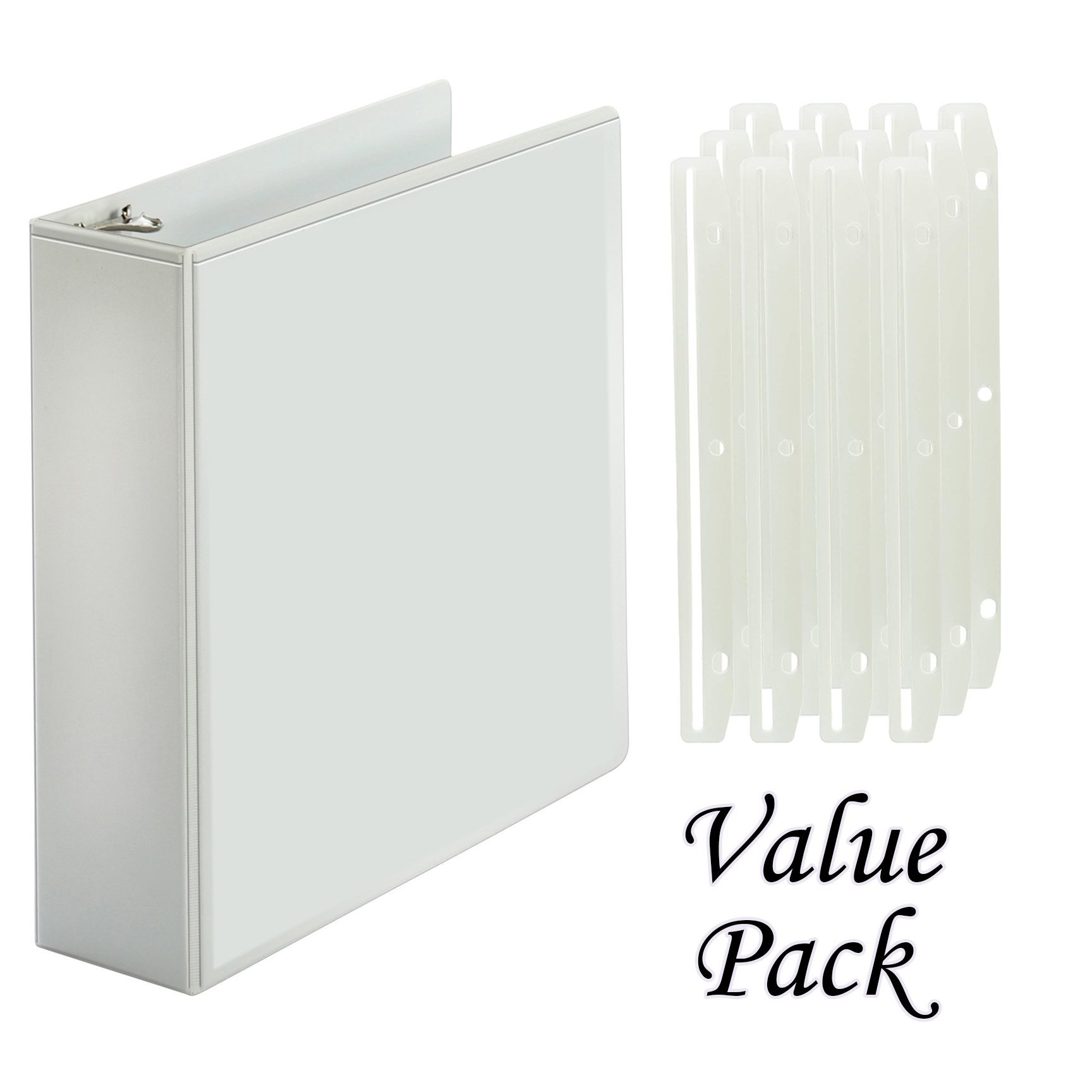 3 Inch Magazine/Catalog Binders, View Binder, with 3-Hole Punched Plastic Strip Magazine Holders 12 Pcs – Perfect for Magazine/Catalog Organizing, Collecting and Storaging – Value Set - (White Binder)