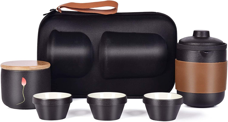 Panghuhu88 Travel Ceramic Tea Set Portable Japanese/Chinese Teacup Set for Outdoor Kungfu Tea Pot Cup Set with Travel Bag for Adults (Upgrade Set)