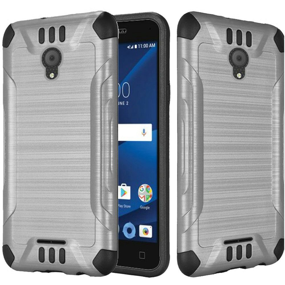 Alcatel idealXCITE Case, HRWireless Slim Armor Dual Layer [Shock Absorbing] Protection Hybrid Brushed PC/TPU Rubber Case Cover For Alcatel idealXCITE, Silver/Black EXCBHY-Xcite-Silv