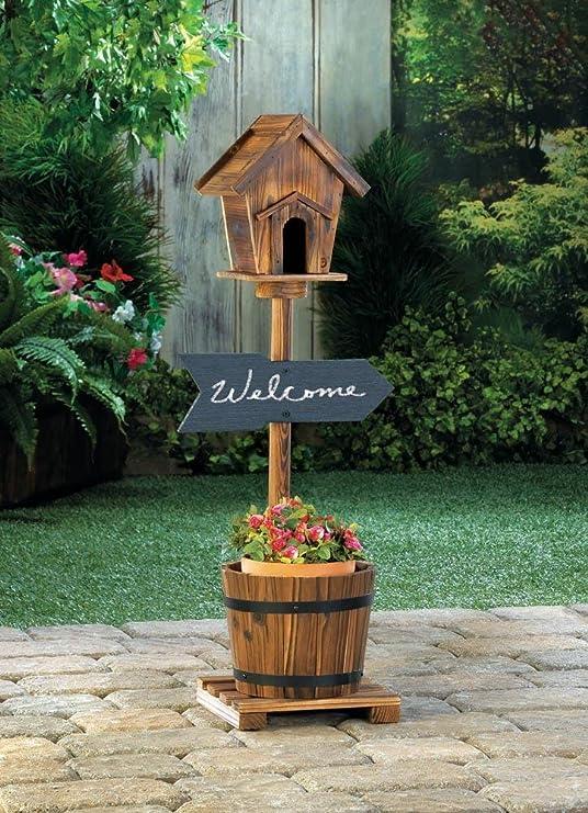 Macetas Jardín Decoración Welcome Sign rústico Birdhouse barril macetero pizarra al aire libre jardín Patio madera: Amazon.es: Jardín