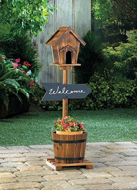 Amazon.com : Planters Garden Decor Welcome Sign Rustic Birdhouse Barrel  Planter Chalkboard Outdoor Garden Yard Wood : Garden U0026 Outdoor