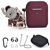 TOROTOP Airpods Case, 7 in 1 Silicone Protective Airpod 1& 2 Charging Case Cover Accessories Set with Bling Elephant Keychain/Strap/Ear Hook/Storage Box Compatible for Apple Airpods Women(Burgundy)