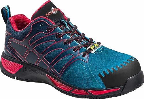 37190e92a1e Nautilus Mens Blue Red Mesh Comp Toe ESD Athletic Work Shoes 7 M