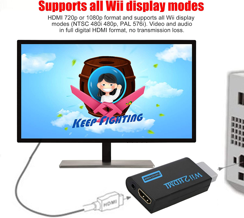 Thlevel Wii a HDMI Adaptador, Conversor de Wii a HDMI 720P/1080P con Cable HDMI con Puerto HDMI y Jack 3.5mm – Soporta Todos Los Modos de Visualización Wii (Negro): Amazon.es: Electrónica