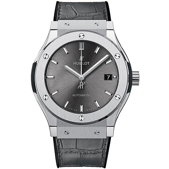 Hublot – Reloj de pulsera hombre 45 mm cuero pulsera Dibujo de piel Carcasa Gris Titanio