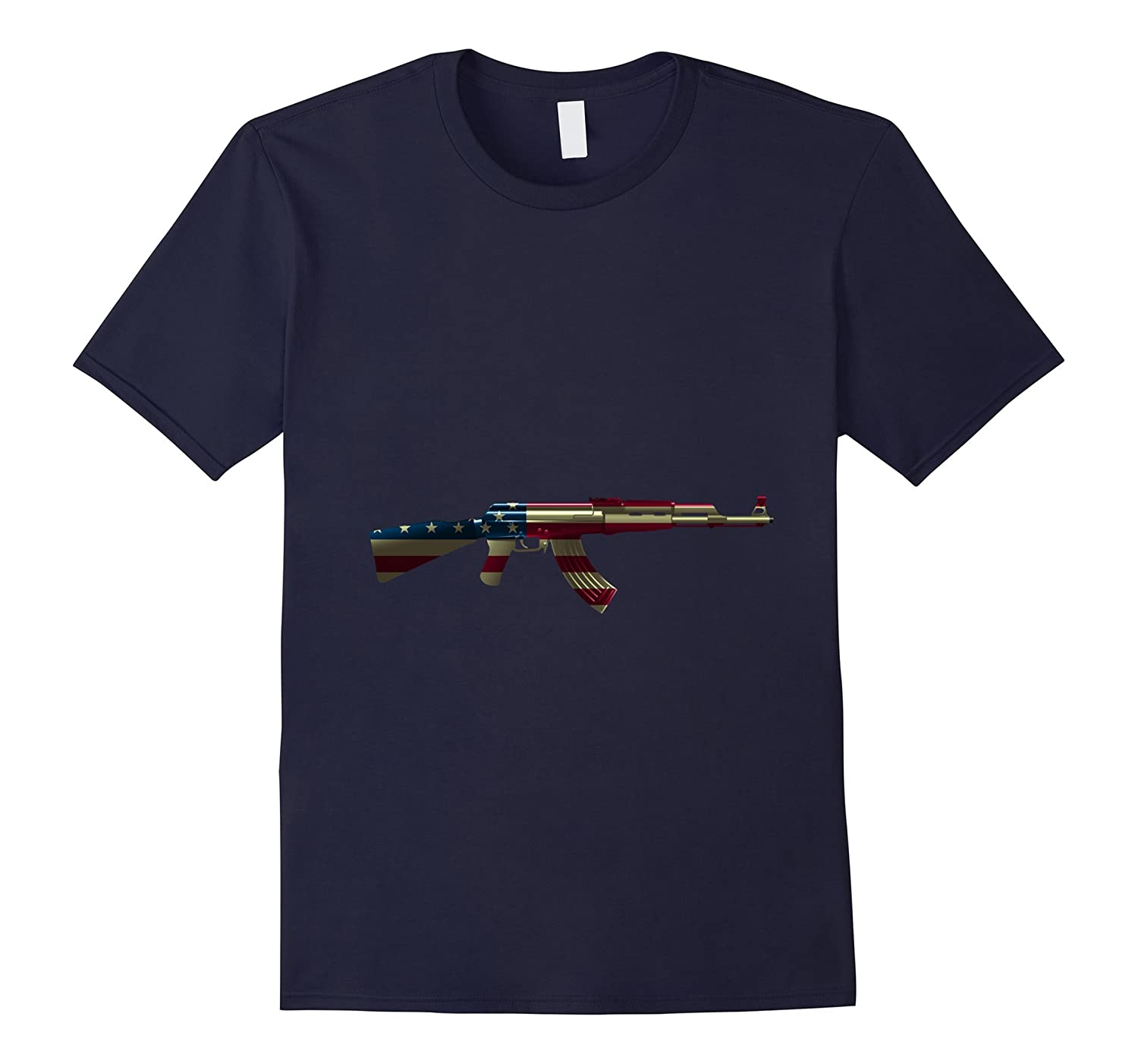 Assault Rifle Gun Flag Red White And Blue Gun 4TH Of July T--PL