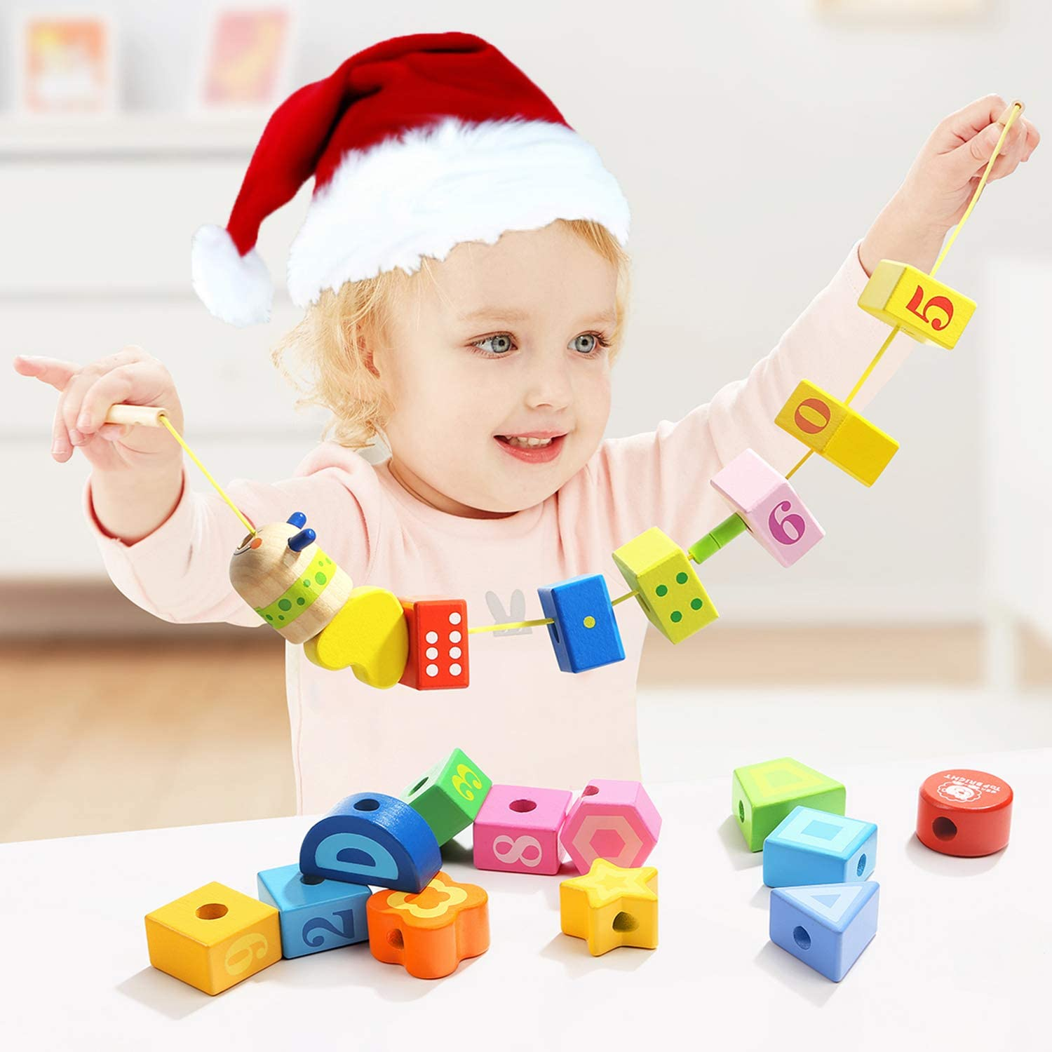 Wooden Preschool Educational Toys for Toddlers 18 Month TOP BRIGHT Lacing Beads Toys for 2 Year Old Girl and Boy Gifts