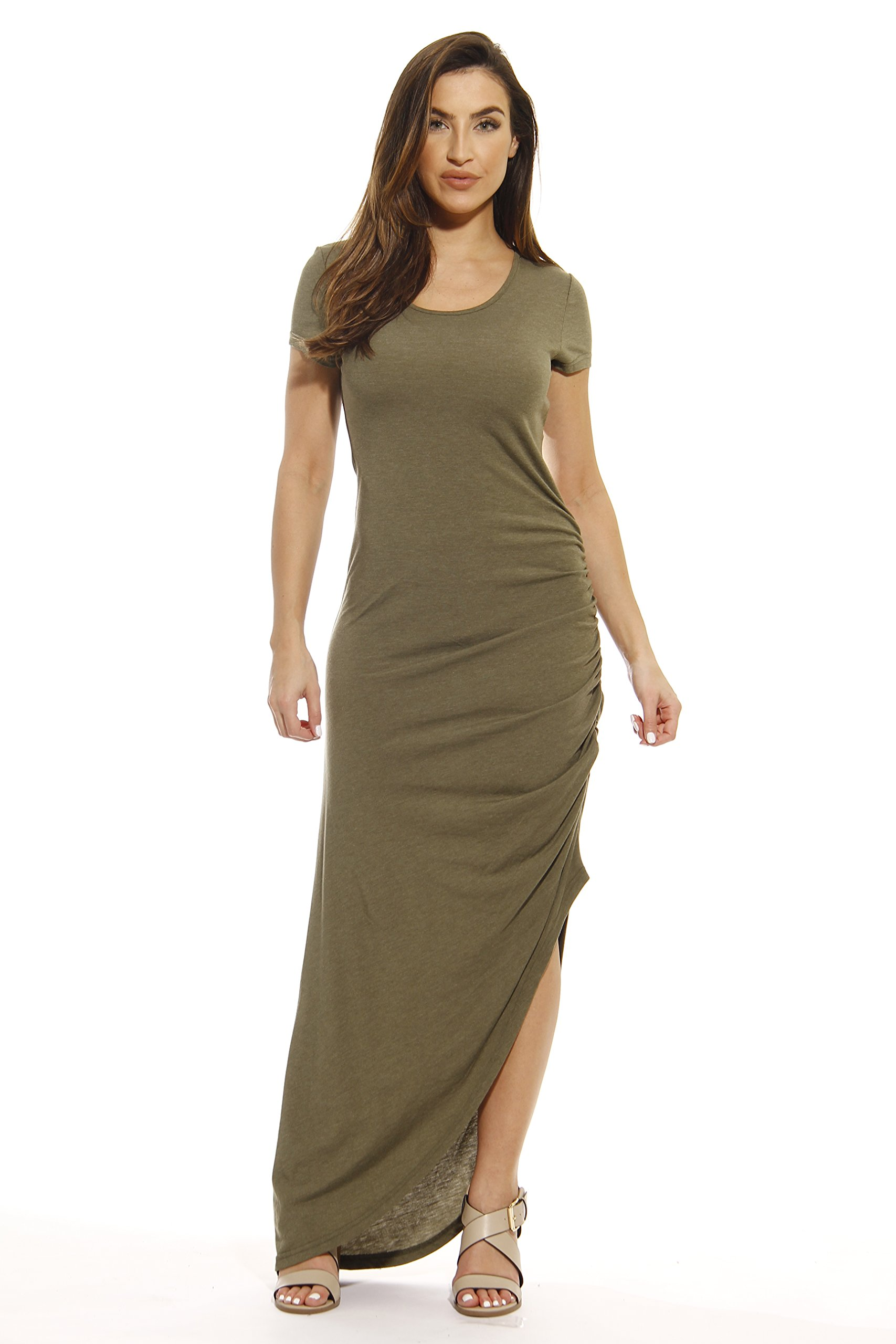401009-GRN-3X Just Love Summer Dresses / Maxi Dress,Heathered Green,3X
