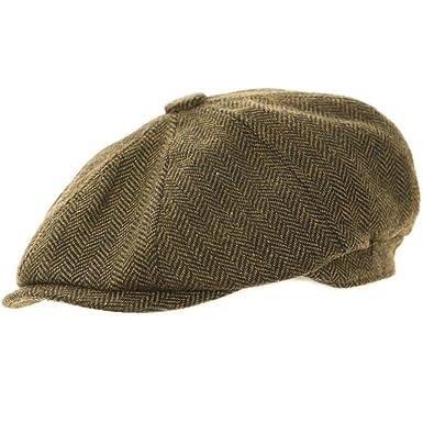 77ae7ef4c28b Green Herringbone Newsboy 8 Panel Baker Boy Tweed Flat Cap Mens Gatsby Hat  (58cm M Medium 58 cm): Amazon.co.uk: Clothing