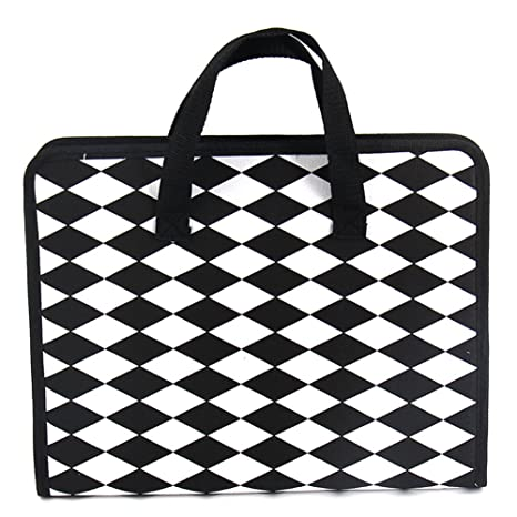 2e5af63e0be1 Lzttyee Portable Hand-Held A4 Size Canvas Expandable File Folder Accordion  Document Organizer 13 Pockets with Zipper Closure (Pattern 3)