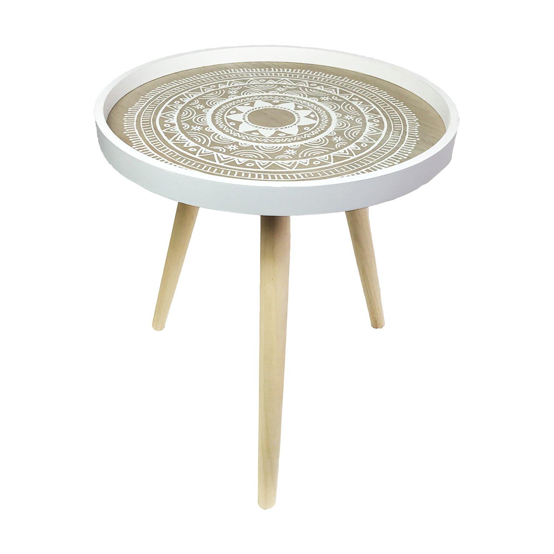 H/öhe 45cm Mojawo Sch/öner Beistelltisch Couchtisch Dekotisch Wei/ß rund 3-beinig Tisch Holz im Shabby Look /Ø 40cm