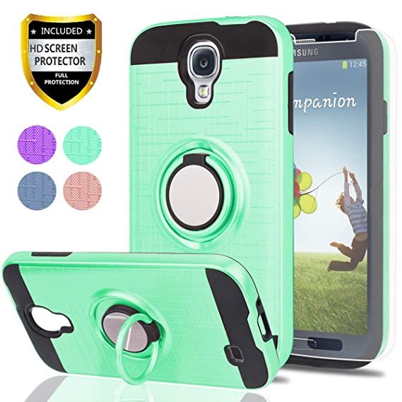 S4 Case,Galaxy S4 Case with HD Phone Screen Protector,Ymhxcy 360 Degree Rotating Ring & Bracket Dual Layer Resistant Back Cover for Samsung Galaxy ...