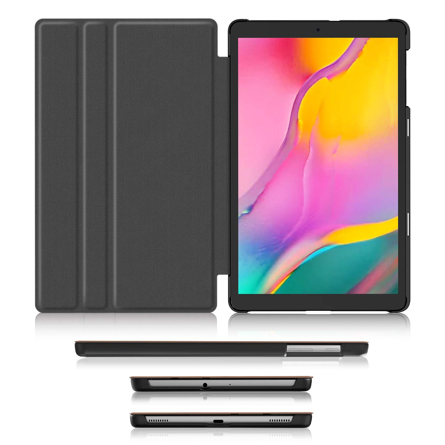 Soft TPU Back Cover for Samsung Galaxy Tab A 10.1 inch Tablet Premium Shock Proof Stand Folio Case Soke Galaxy Tab A 10.1 Case 2019 ,Black SM-T510//T515 Multi- Viewing Angles