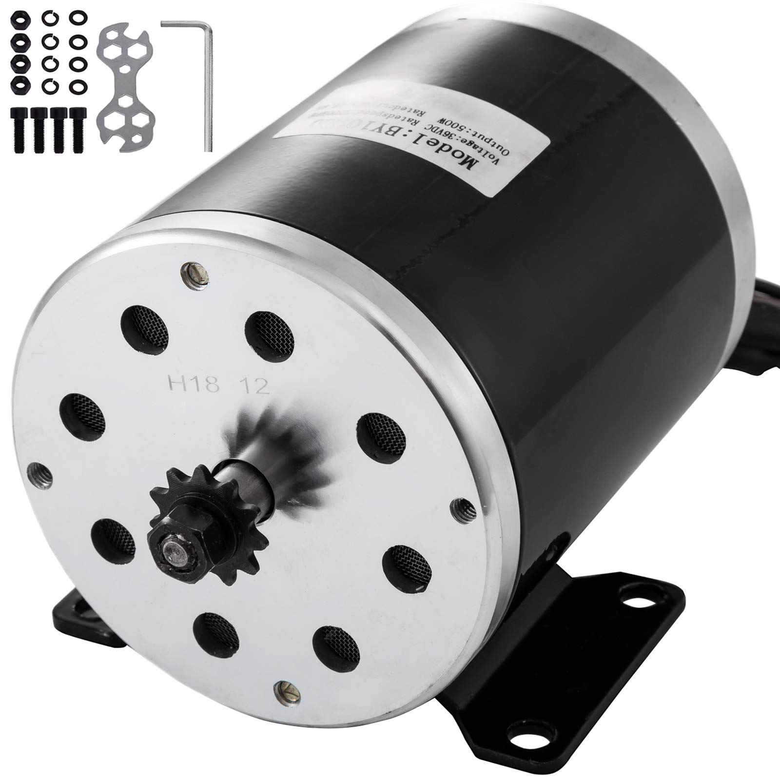 Mophorn Electric Brushed DC Motor 36V 500W with 11 Tooth 25 Chain Sprocket and Mounting Bracket for Go Karts Scooters & E-Bike by Mophorn