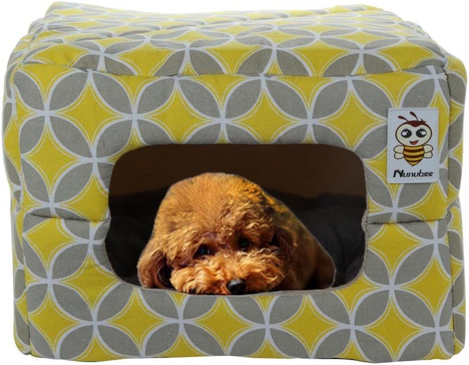 Nunubee Owl Canvas,Triangle,Dog,Kennel,Pet,Nest,Cat,Pad,Bed,Yellow,Small,Large