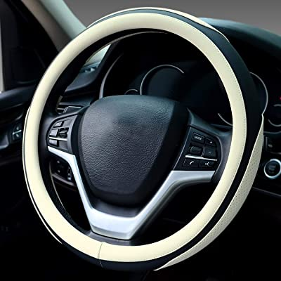Didida Steering Wheel Covers Soft Matte Microfiber Leather Non-Slip Sweat-Absorbent for Women Men Universal 15 Inch Car Decoration (White): Automotive