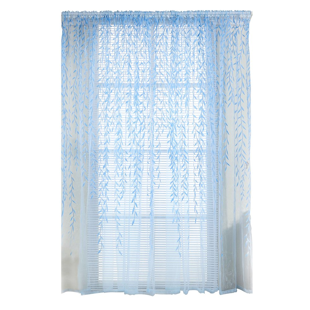 Sheer Curtain Panels,Awakingdemi Pastoral Style Willow Floral Window Curtain for Bedroom Living Room Decor (Blue) 1xd3jv4ae9le2cu2D02-US03