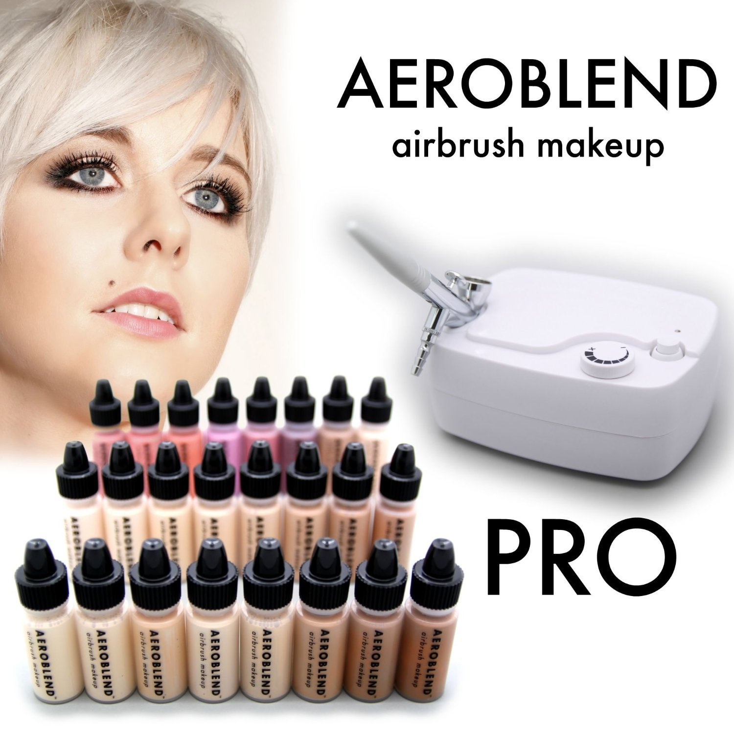 Aeroblend Airbrush Makeup PRO Starter Kit - Professional Cosmetic Airbrush Makeup System - 24 Color - Full 1-Year Warranty AEROPRO1