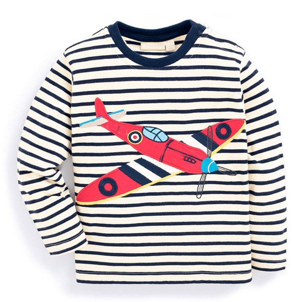 KIDSALON Little Boys' Cotton Crewneck Long Sleeve Cartoon T-Shirt (18M, Fighter)