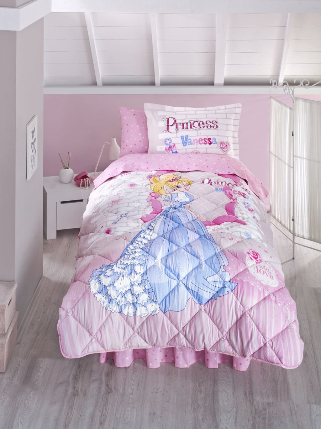 100%Cotton Princess Bedding Set,Girls Comforter Set, Single/Twin Size,Pink, 5 PCS