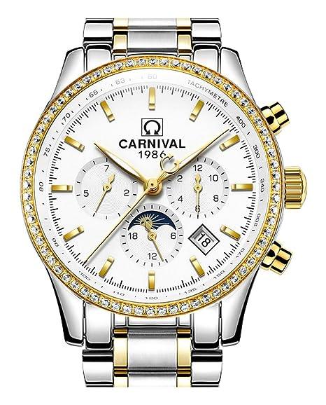 Para hombre 25 joyas automático oro relojes espejo mineral fase lunar calendario 24 horas reloj luminoso